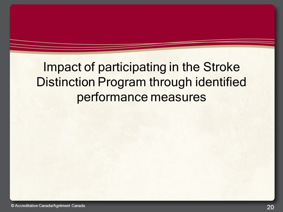 © Accreditation Canada/Agrément Canada Impact of participating in the Stroke Distinction Program through identified performance measures 20