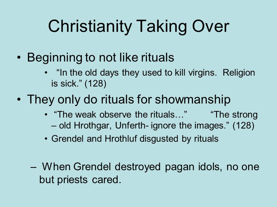 "Christianity Taking Over Beginning to not like rituals ""In the old days they used to kill virgins. Religion is sick."" (128) They only do rituals for s"