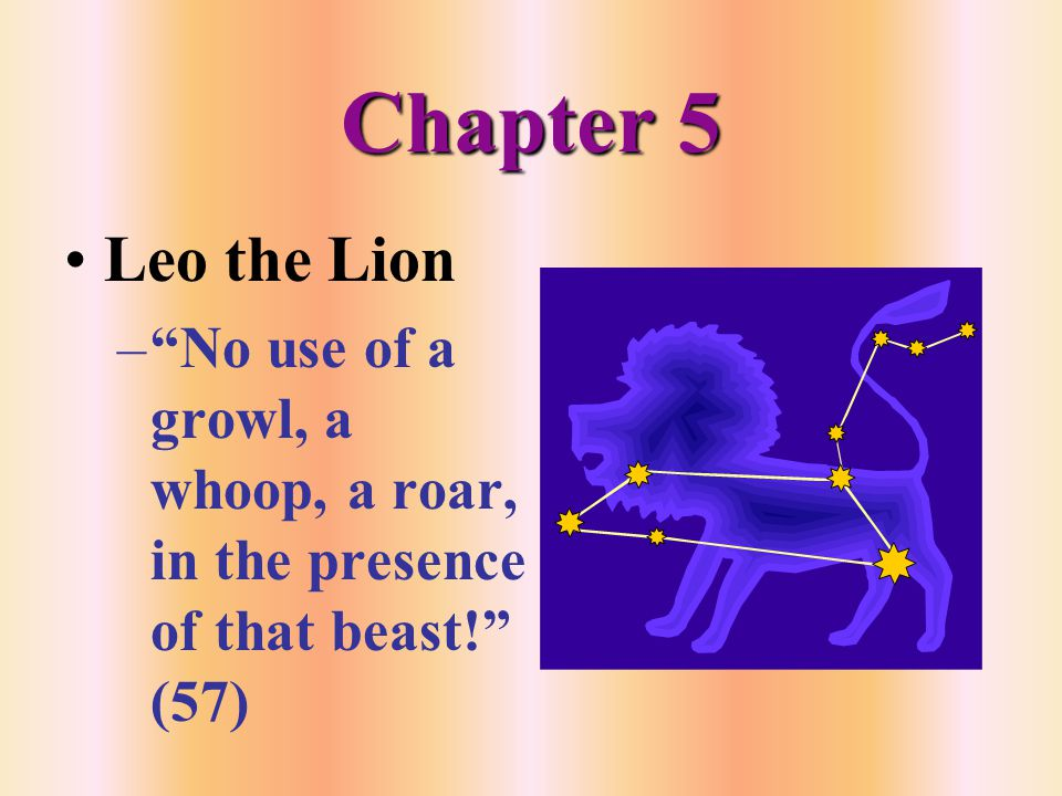 Chapter 5 Leo the Lion – No use of a growl, a whoop, a roar, in the presence of that beast! (57)