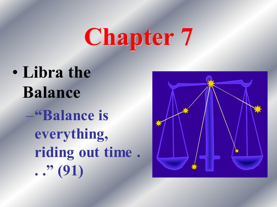 Chapter 7 Libra the Balance – Balance is everything, riding out time... (91)