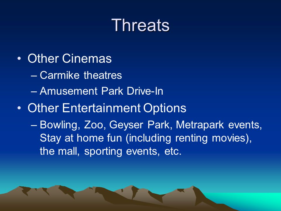 Threats Other Cinemas –Carmike theatres –Amusement Park Drive-In Other Entertainment Options –Bowling, Zoo, Geyser Park, Metrapark events, Stay at home fun (including renting movies), the mall, sporting events, etc.
