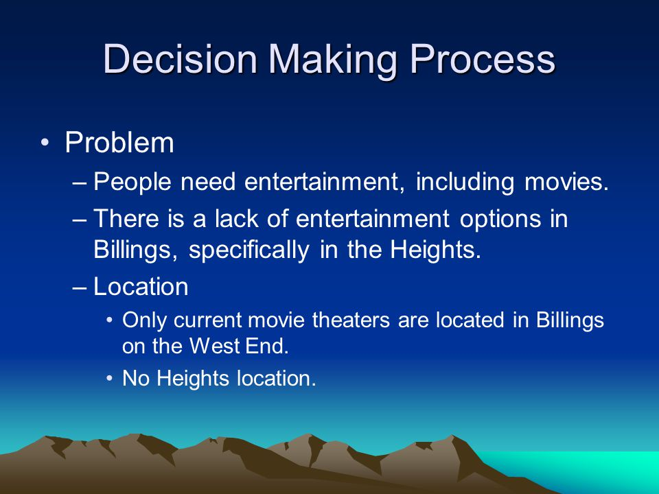 Decision Making Process Problem –People need entertainment, including movies.