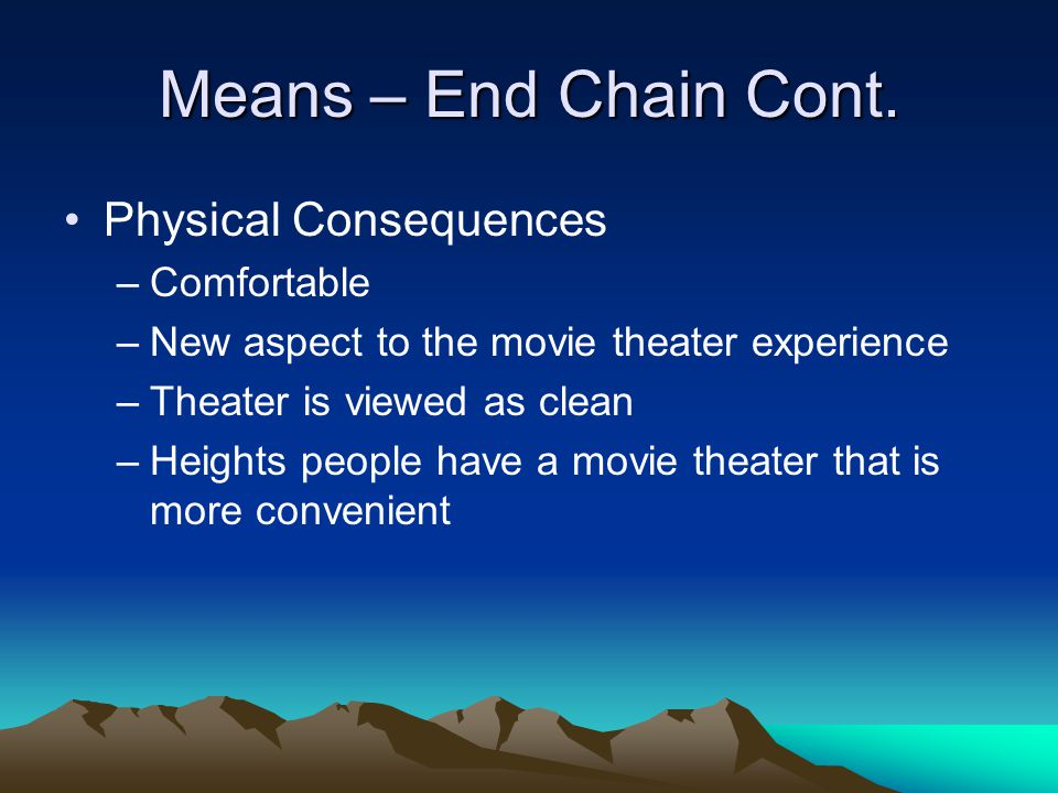 Means – End Chain Cont.