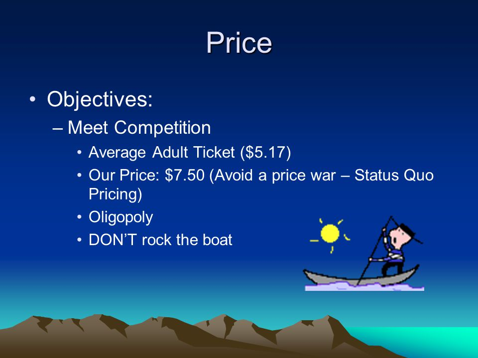 Price Objectives: –Meet Competition Average Adult Ticket ($5.17) Our Price: $7.50 (Avoid a price war – Status Quo Pricing) Oligopoly DON'T rock the boat