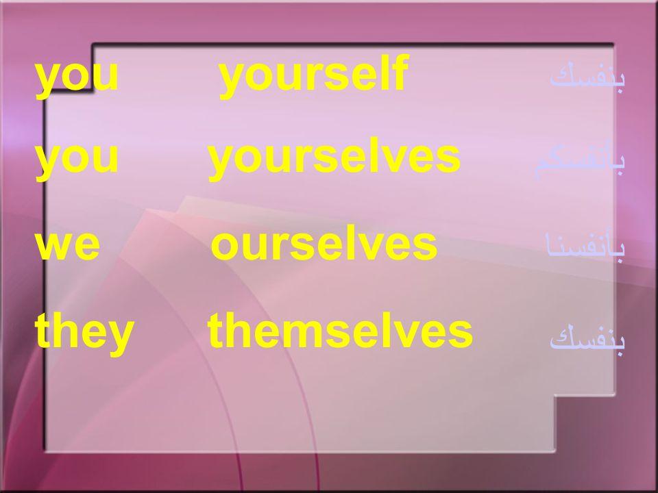 Reflexive Pronouns الضمائر المنعكسة I myself he himself it itself she herself بنفسي بنفسه بذاتها بنفسها