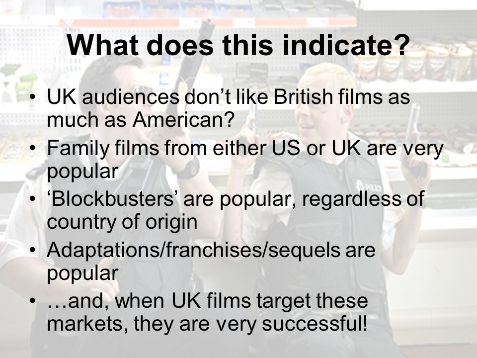 What does this indicate. UK audiences don't like British films as much as American.