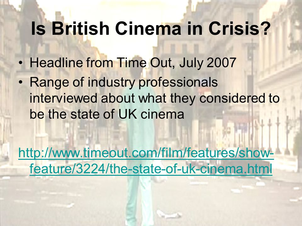 Heritage Cinema Presents a very patriotic vision of Britain Usually set in Victorian, Edwardian or inter-war years – mostly focused on upper middle classes Often adaptations of literary works Romanticised view of the past – 'bygone Golden Age' Popular when British national identity is questioned: WWII and 1980s