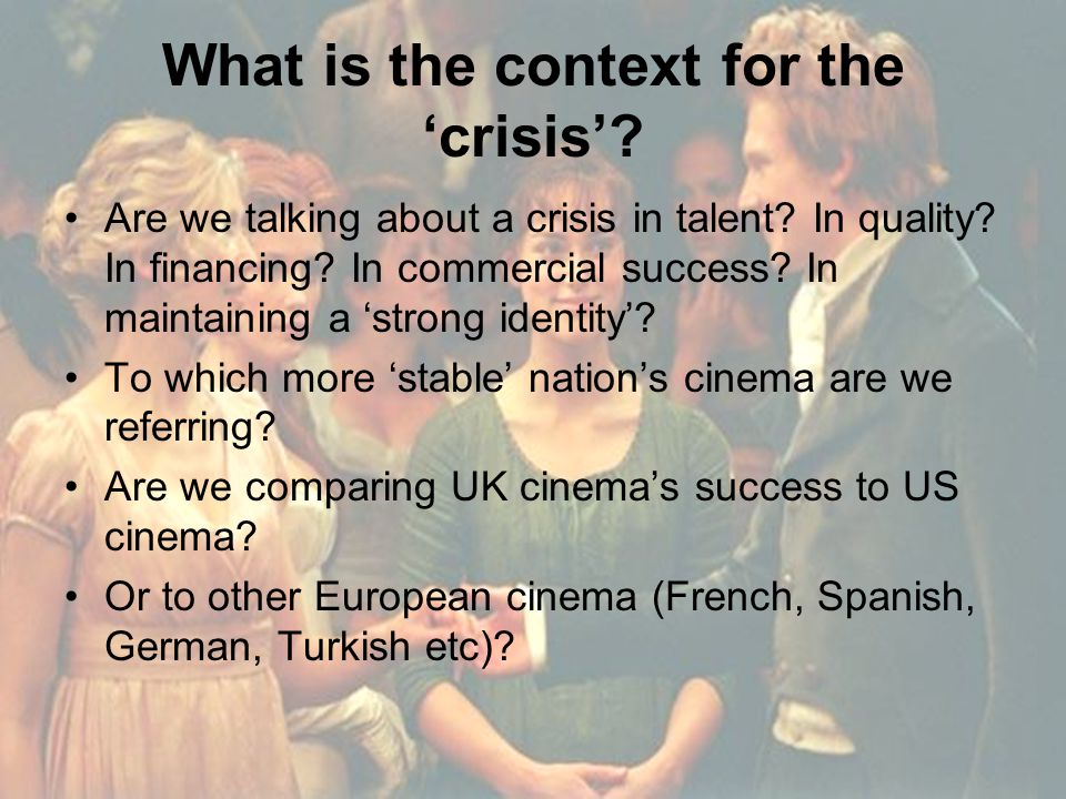 What is the context for the 'crisis'. Are we talking about a crisis in talent.