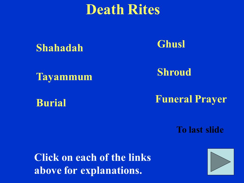 Death Rites Click on each of the links above for explanations.