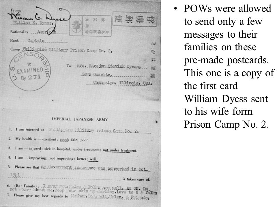 POWs were allowed to send only a few messages to their families on these pre-made postcards. This one is a copy of the first card William Dyess sent t