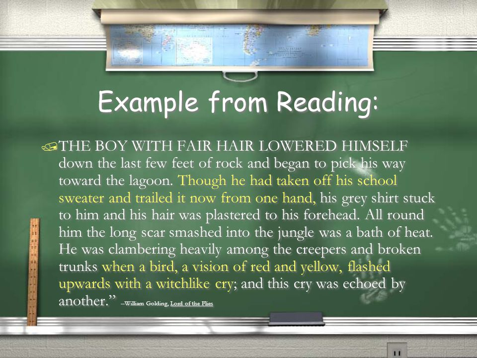 Example from Reading: / THE BOY WITH FAIR HAIR LOWERED HIMSELF down the last few feet of rock and began to pick his way toward the lagoon. Though he h