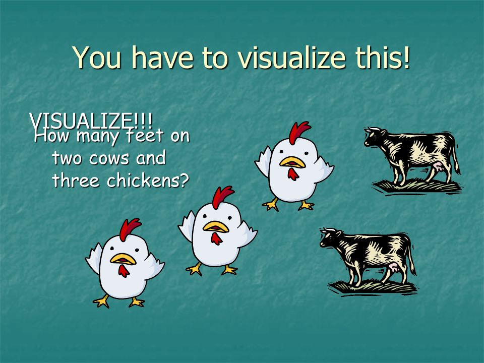 VISUALIZE!!! You have to visualize this! How many feet on two cows and three chickens
