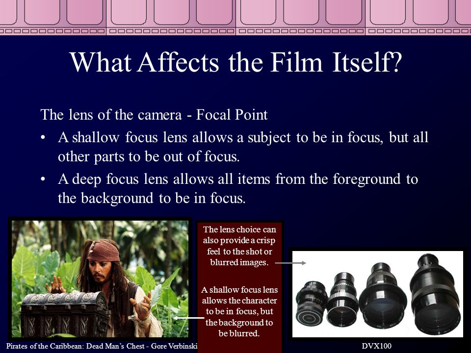 What Affects the Film Itself? The lens of the camera - Focal Point A shallow focus lens allows a subject to be in focus, but all other parts to be out