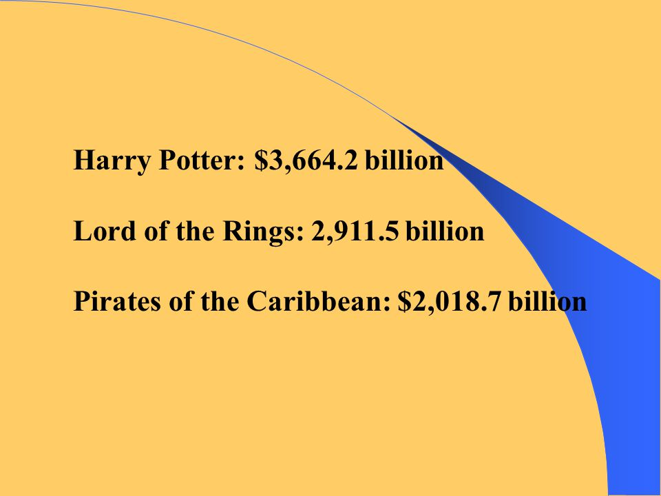Harry Potter: $3,664.2 billion Lord of the Rings: 2,911.5 billion Pirates of the Caribbean: $2,018.7 billion