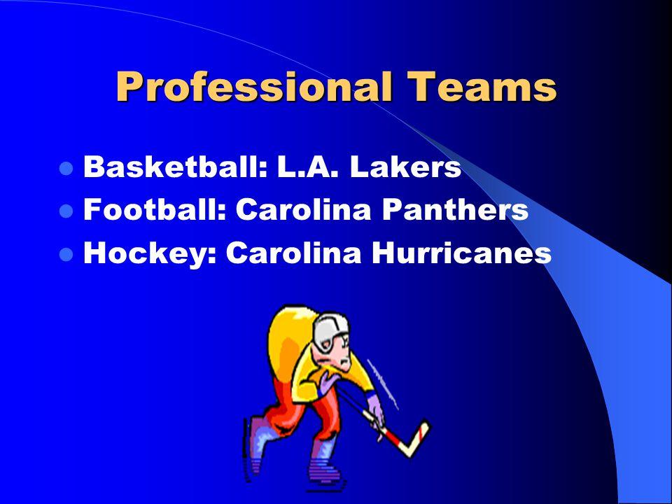 Professional Teams Basketball: L.A. Lakers Football: Carolina Panthers Hockey: Carolina Hurricanes
