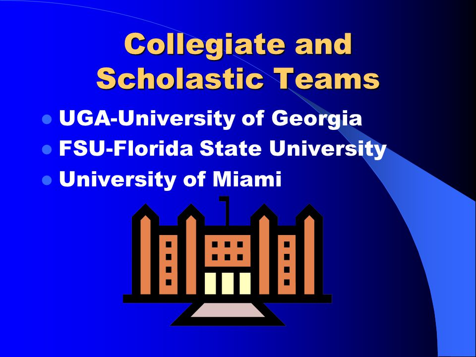 Collegiate and Scholastic Teams UGA-University of Georgia FSU-Florida State University University of Miami