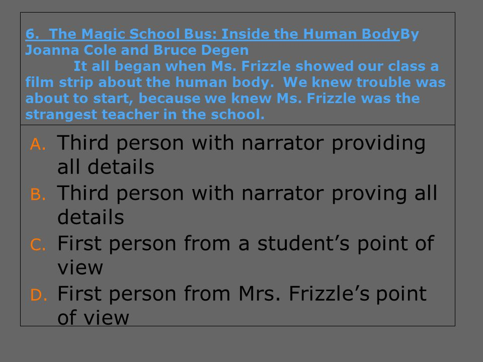 6. The Magic School Bus: Inside the Human BodyBy Joanna Cole and Bruce Degen It all began when Ms. Frizzle showed our class a film strip about the hum