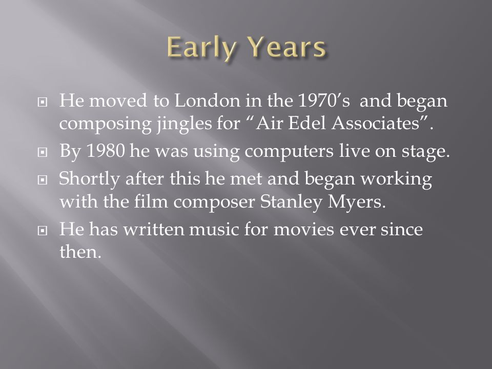  He moved to London in the 1970's and began composing jingles for Air Edel Associates .