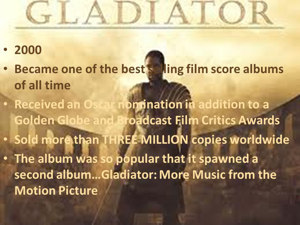 2000 Became one of the best selling film score albums of all time Received an Oscar nomination in addition to a Golden Globe and Broadcast Film Critic