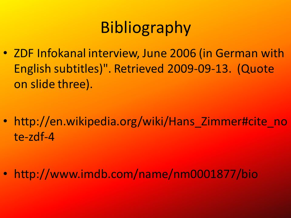 Bibliography ZDF Infokanal interview, June 2006 (in German with English subtitles)