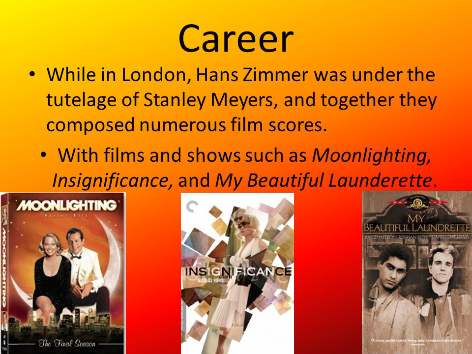 Music Style Together with Stanley Meyers, Hans Zimmer helped co-found the London-Based Lillie Yard Recording Studios.