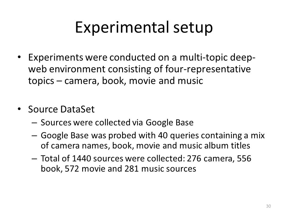 Experimental setup Experiments were conducted on a multi-topic deep- web environment consisting of four-representative topics – camera, book, movie an