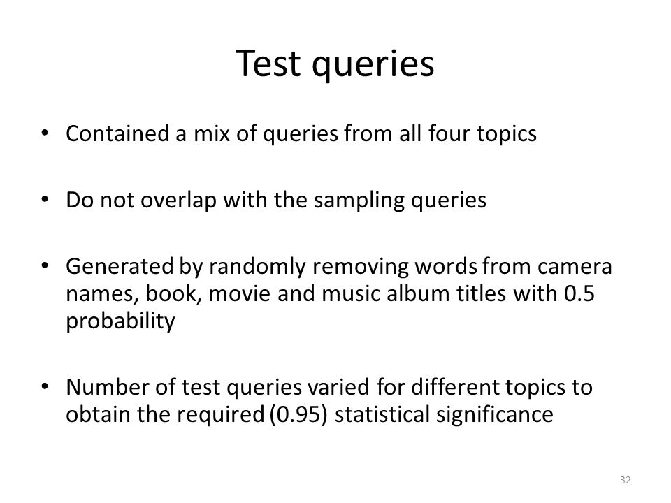 Test queries Contained a mix of queries from all four topics Do not overlap with the sampling queries Generated by randomly removing words from camera