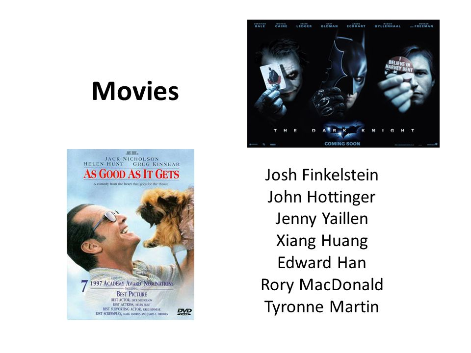 Movies Josh Finkelstein John Hottinger Jenny Yaillen Xiang Huang Edward Han Rory MacDonald Tyronne Martin