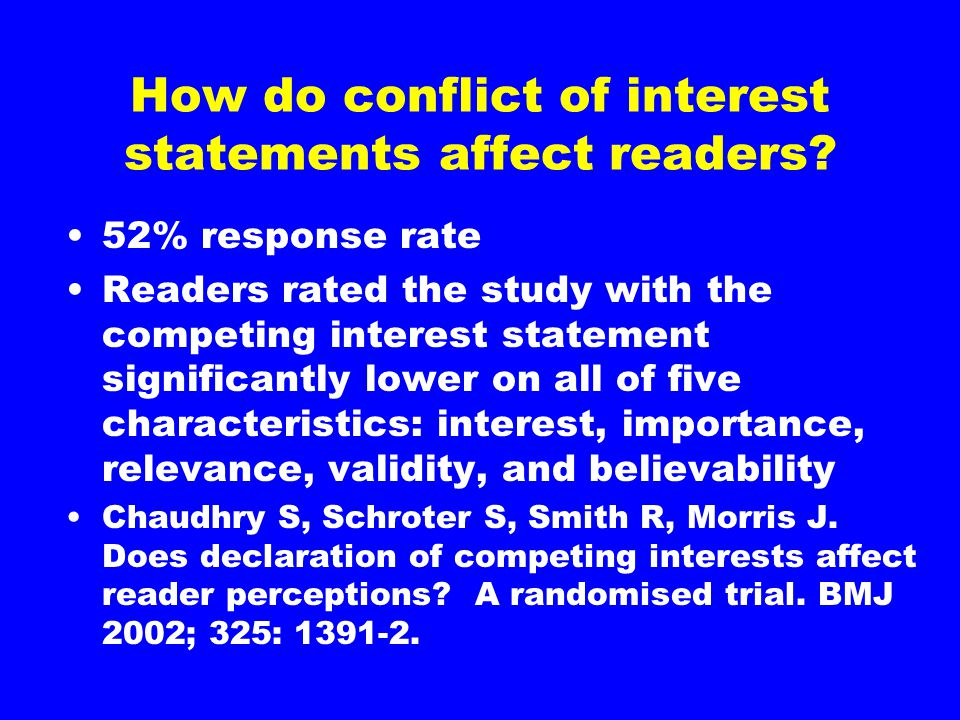 How do conflict of interest statements affect readers.
