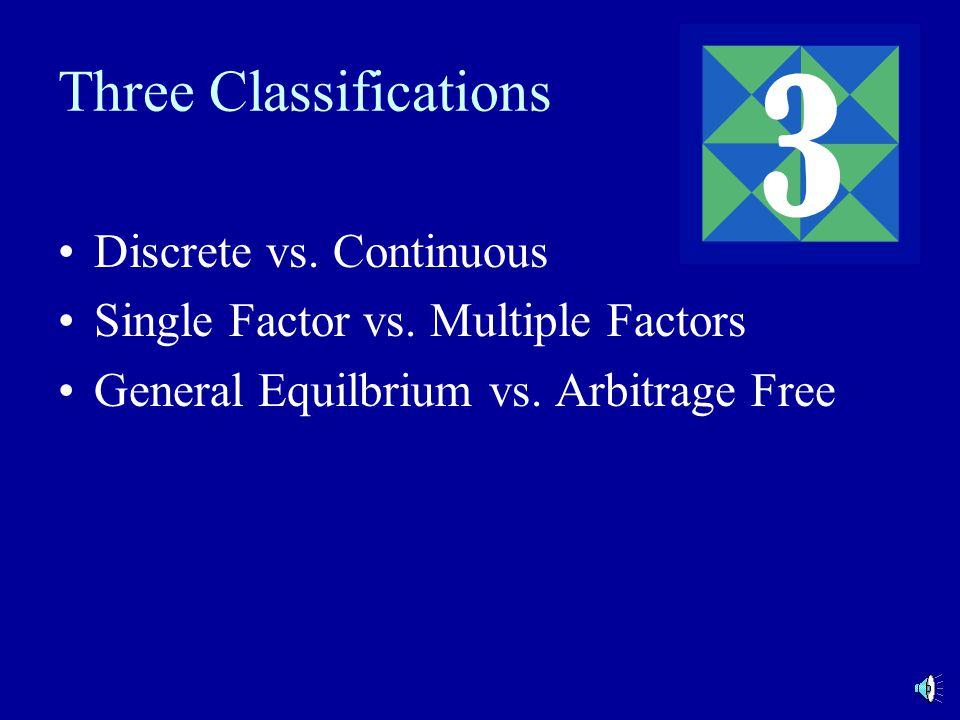 Three Classifications Discrete vs. Continuous Single Factor vs.
