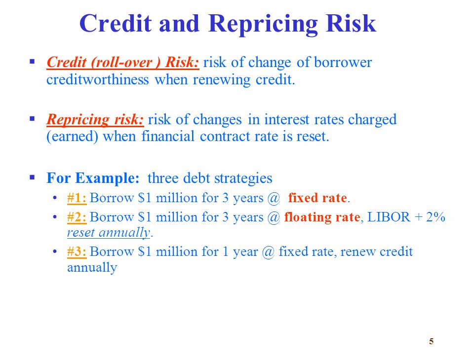 5 Credit and Repricing Risk  Credit (roll-over ) Risk: risk of change of borrower creditworthiness when renewing credit.