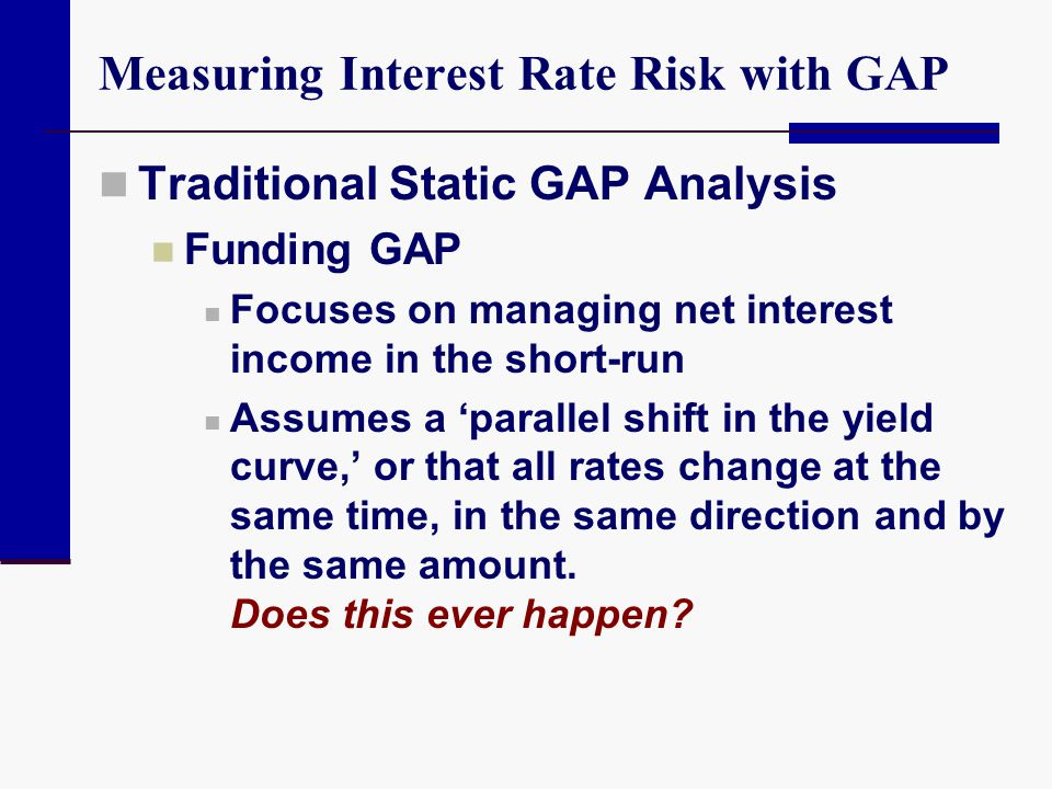 Measuring Interest Rate Risk with GAP Traditional Static GAP Analysis Funding GAP Focuses on managing net interest income in the short-run Assumes a '