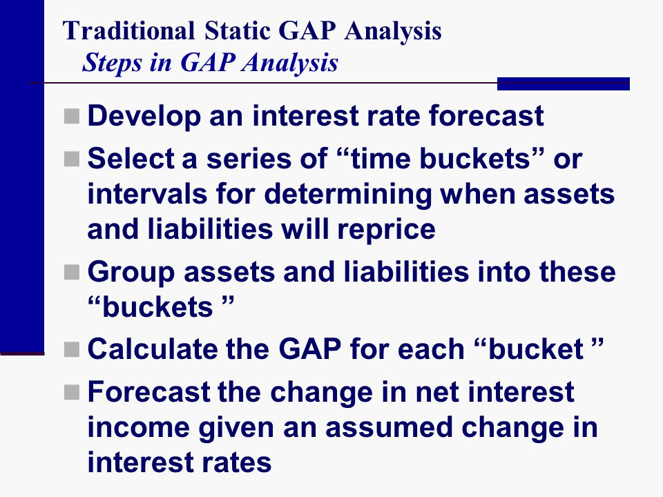 """Traditional Static GAP Analysis Steps in GAP Analysis Develop an interest rate forecast Select a series of """"time buckets"""" or intervals for determining"""
