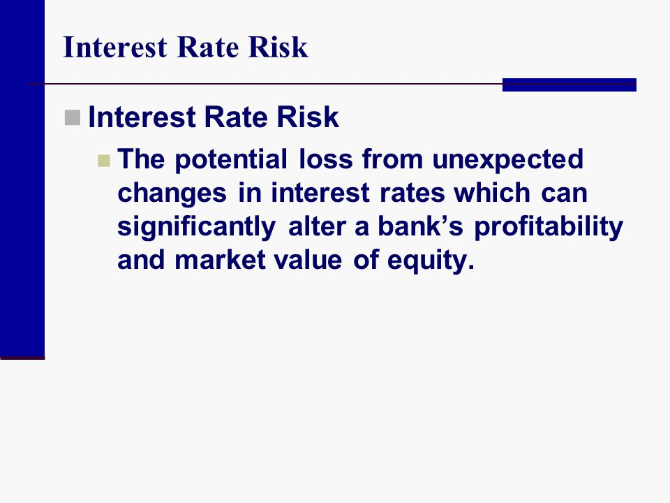 Interest Rate Risk The potential loss from unexpected changes in interest rates which can significantly alter a bank's profitability and market value