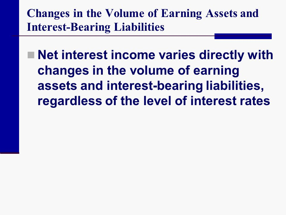 Changes in the Volume of Earning Assets and Interest-Bearing Liabilities Net interest income varies directly with changes in the volume of earning ass