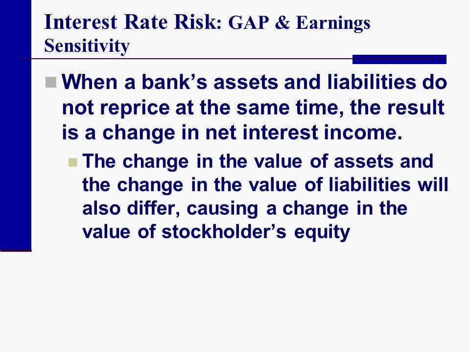 Earnings Sensitivity Analysis Recognizes that Different Interest Rates Change by Different Amounts at Different Times It is well recognized that banks are quick to increase base loan rates but are slow to lower base loan rates when rates fall.