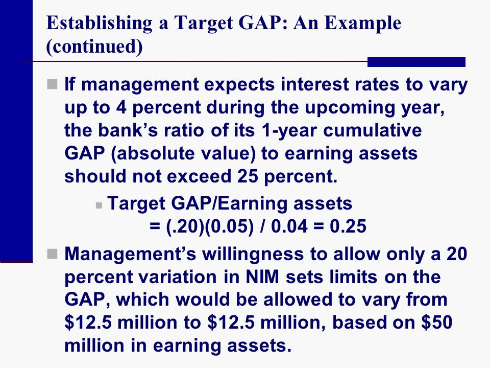 Establishing a Target GAP: An Example (continued) If management expects interest rates to vary up to 4 percent during the upcoming year, the bank's ra