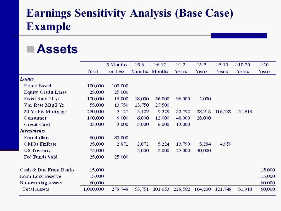 Earnings Sensitivity Analysis (Base Case) Example Assets