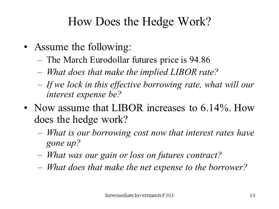 Intermediate Investments F30310 How Does the Hedge Work.
