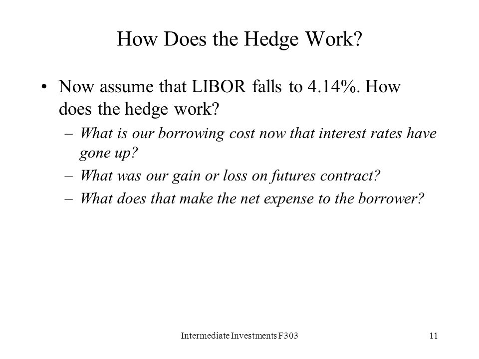 Intermediate Investments F30311 How Does the Hedge Work.