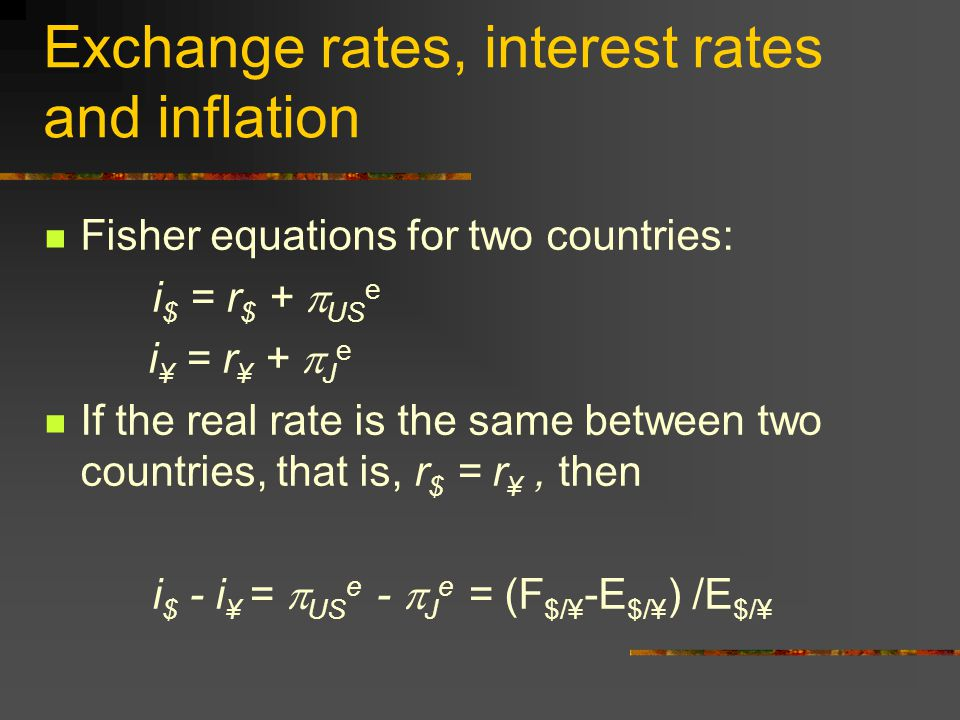 Fisher Equation i = r +  e where  e = expected rate of inflation Higher the inflation expectations, higher will be the nominal interest rates.
