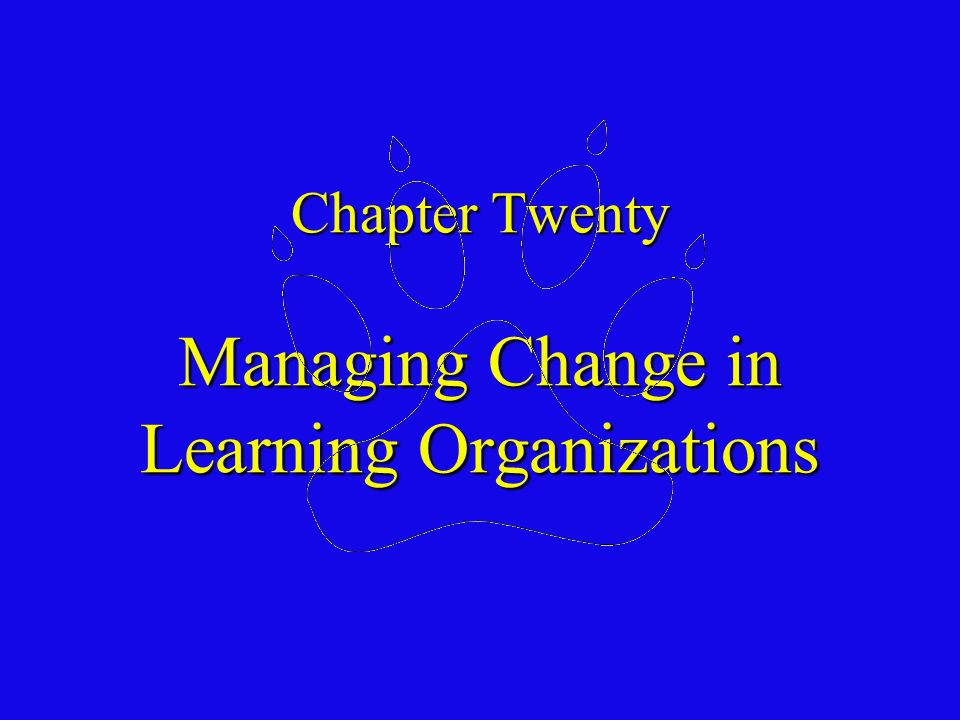 Chapter Twenty Outline Forces of Change - External Forces - Internal Forces Forces of Change - External Forces - Internal Forces Models and Dynamics of Planned Change - Types of Change - Lewin's Change Model - A Systems Model of Change - Kotter's Eight Steps for Leading Organizational Change - Organization Development Models and Dynamics of Planned Change - Types of Change - Lewin's Change Model - A Systems Model of Change - Kotter's Eight Steps for Leading Organizational Change - Organization Development Understanding and Managing Resistance to Change - Why People Resist Change in the Workplace - Research on Resistance to Change - Alternative Strategies for Overcoming Resistance to Change Understanding and Managing Resistance to Change - Why People Resist Change in the Workplace - Research on Resistance to Change - Alternative Strategies for Overcoming Resistance to Change Creating a Learning Organization - Defining a Learning Organization - Building an Organizations' Learning Capability - Organizations Naturally Resist Learning - Effective Leadership Is the Solution - Unlearning the Organization Creating a Learning Organization - Defining a Learning Organization - Building an Organizations' Learning Capability - Organizations Naturally Resist Learning - Effective Leadership Is the Solution - Unlearning the Organization 20-1
