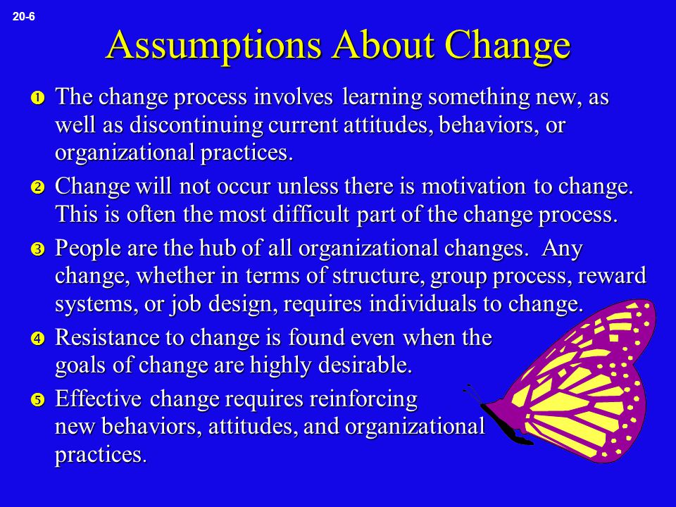 Assumptions About Change  The change process involves learning something new, as well as discontinuing current attitudes, behaviors, or organizational practices.