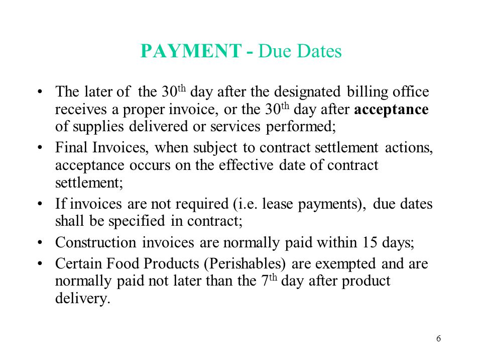 7 PROPER INVOICE Must be submitted to proper designated billing office specified in contract; A Proper Invoice Must Include (Per FAR 52.232- 25(a)(3)(i) through (a)(3)(x) –Name and address of the Contractor; (must match Contract) –Invoice date and invoice number; –Contract number or other authorization (including order number and contract line item number); –Description, quantity, unit of measure, unit price, and extended price; –Shipping information and payment terms;