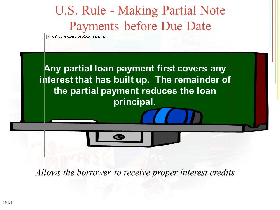 10-14 U.S. Rule - Making Partial Note Payments before Due Date Any partial loan payment first covers any interest that has built up. The remainder of