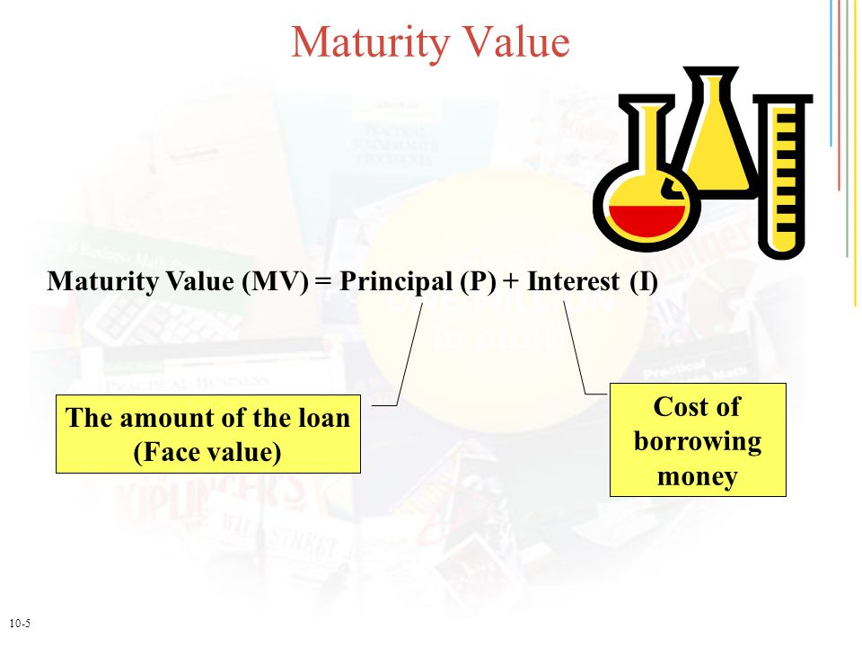 10-5 Maturity Value Maturity Value (MV) = Principal (P) + Interest (I) The amount of the loan (Face value) Cost of borrowing money