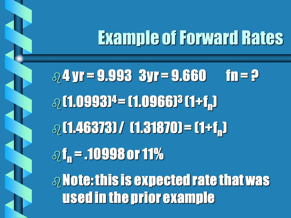 Example of Forward Rates b 4 yr = 9.9933yr = 9.660fn = .