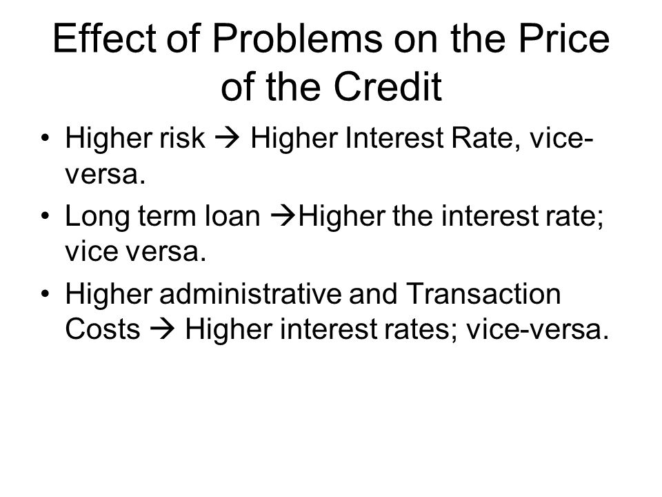 Effect of Problems on the Price of the Credit Higher risk  Higher Interest Rate, vice- versa. Long term loan  Higher the interest rate; vice versa.