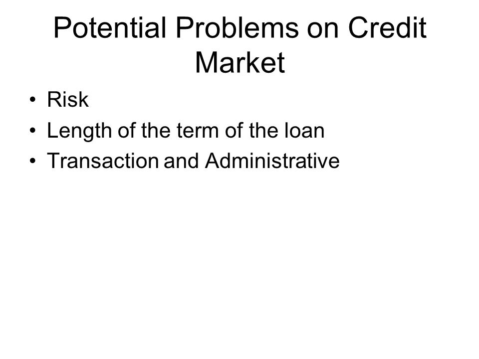Potential Problems on Credit Market Risk Length of the term of the loan Transaction and Administrative