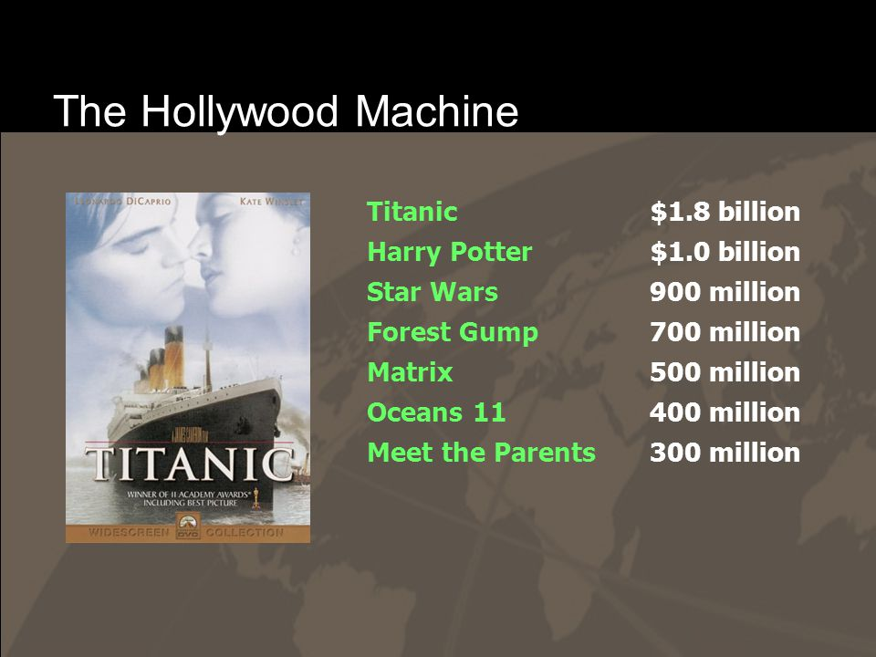 The Hollywood Machine Titanic Harry Potter Star Wars Forest Gump Matrix Oceans 11 Meet the Parents $1.8 billion $1.0 billion 900 million 700 million 500 million 400 million 300 million